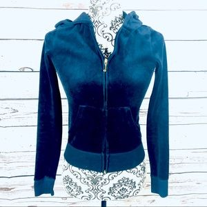Juicy Couture Velour Track Jacket Crystals Navy XS